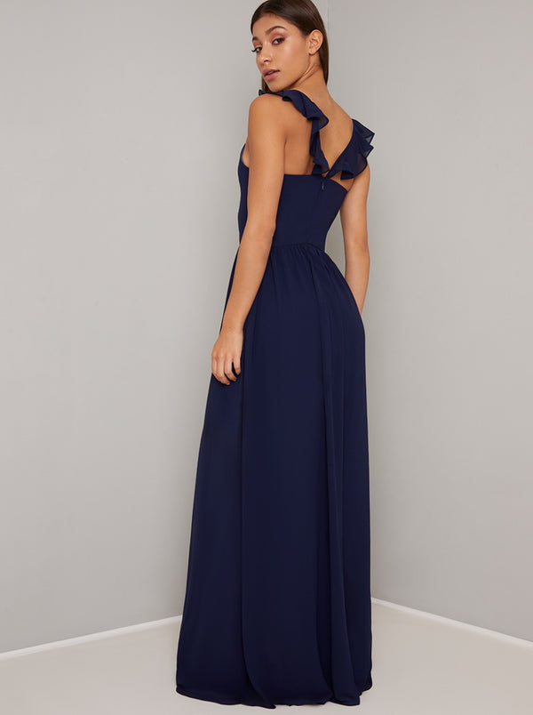 Ruffle Detail Maxi Dress with Back Detailing in Blue