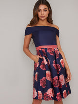 Floral Print Bardot Bodice Midi Dress in Blue