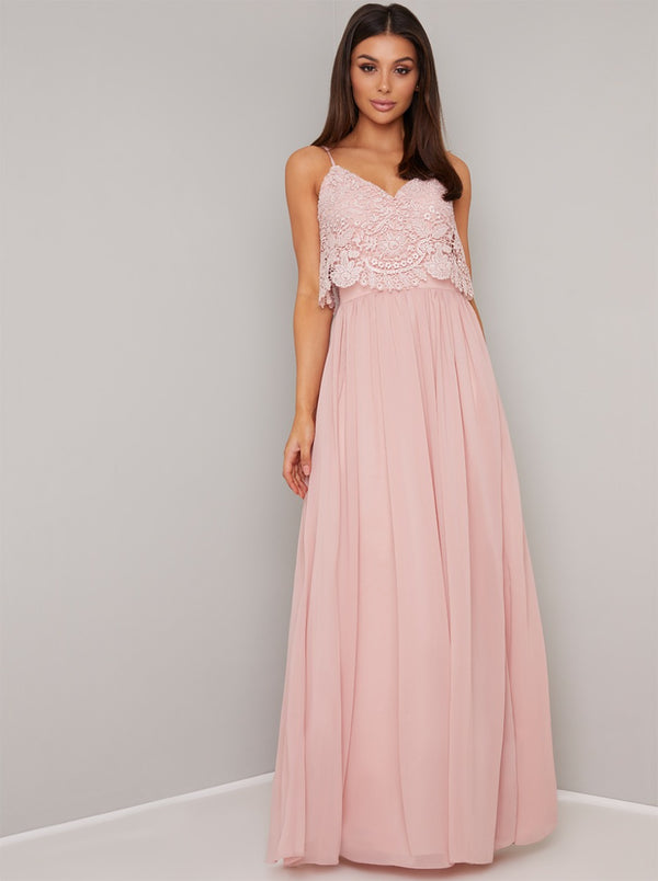Lace Bodice Overlay Chiffon Maxi Dress In Pink