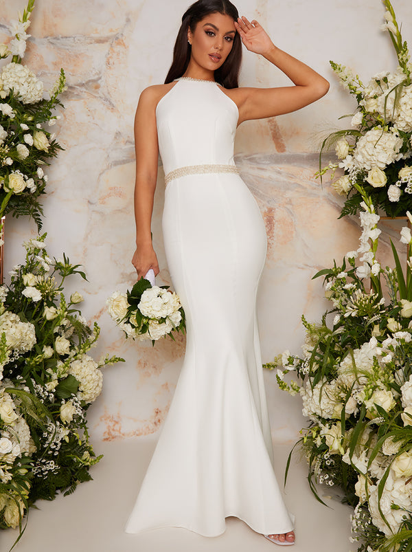 Bridal Halter Style Embellished Wedding Dress in White