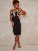 Lace Cami Bodycon Dress with Lace Detail in Black