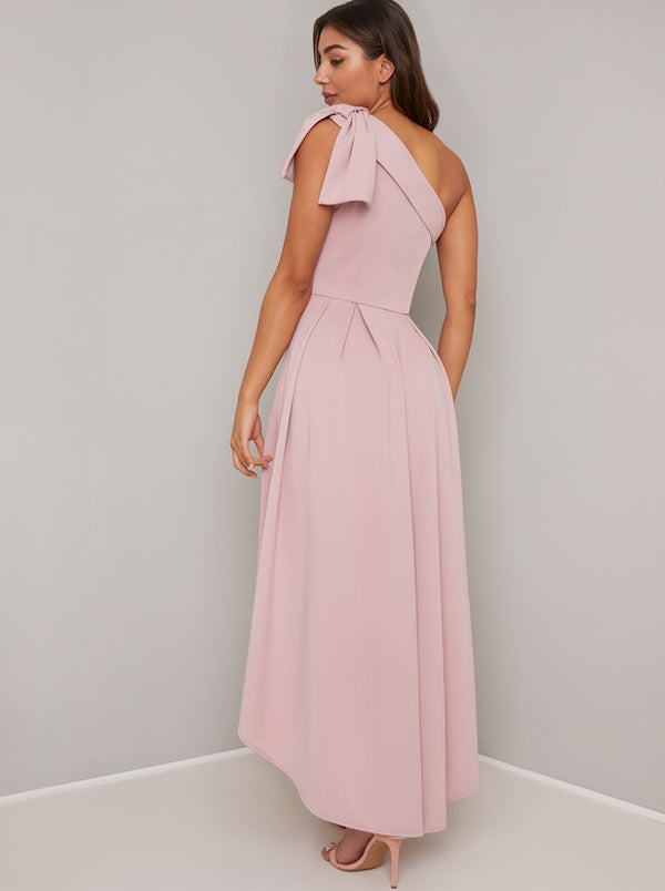 One Shoulder Bow Midi Dip Hem Dress in Pink