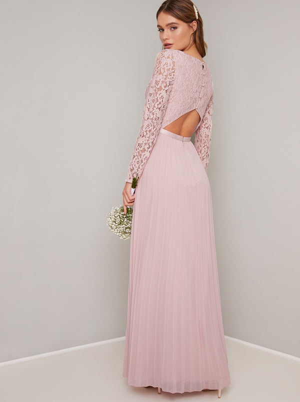 Lace Bodice Pleated Maxi Bridesmaids Dress in Pink