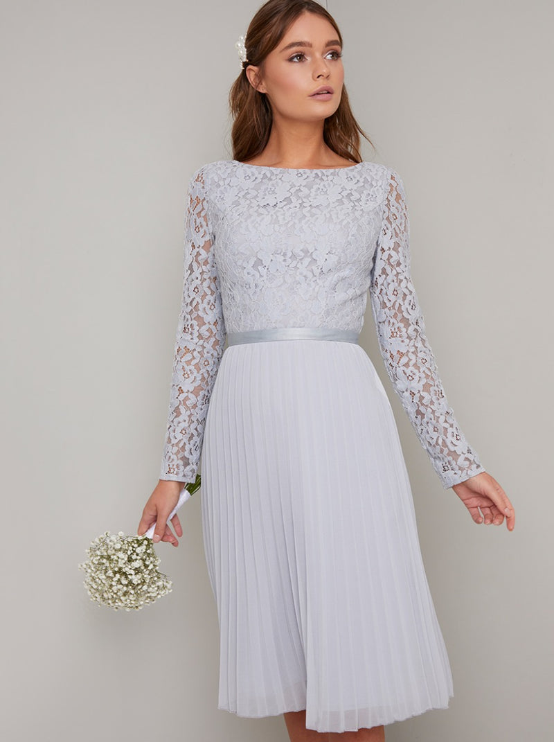 Long Sleeved Lace Bodice Pleated Midi Dress in Blue