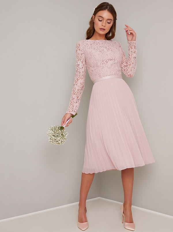 Lace Midi Dress with with Long Sleeves in Pink