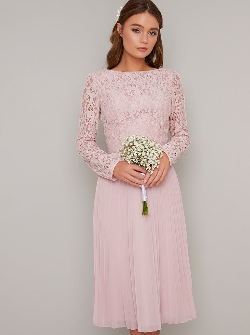 Tall Lace Bodice Pleat Midi Dress in Pink