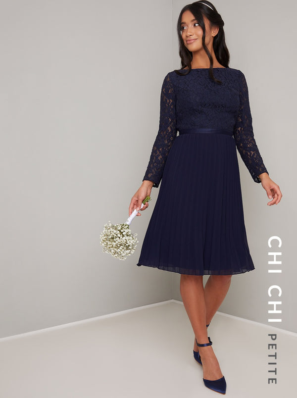 Petite Long Sleeved Lace Bodice Pleat Midi Dress in Blue