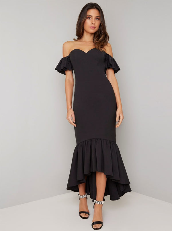 Bardot Fishtail Dip Hem Dress In Black