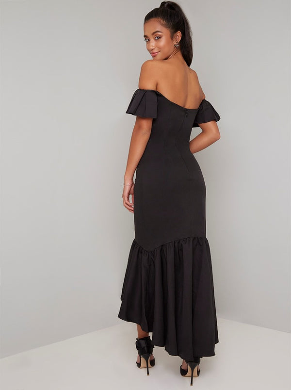 Petite Bardot Dip Hem Midi Dress In Black