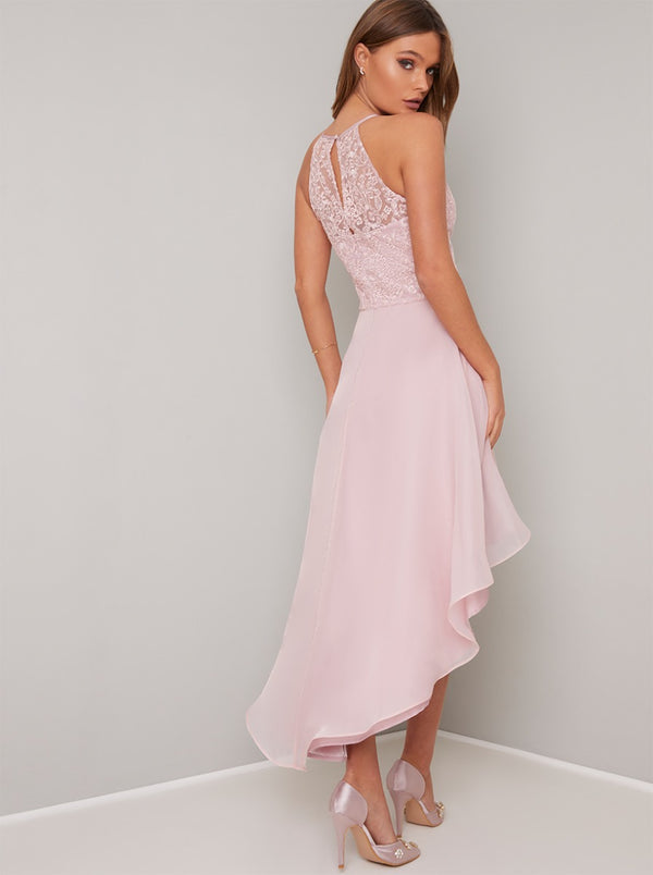 Halter Lace Bodice Dip Hem Layered Midi Dress in Pink
