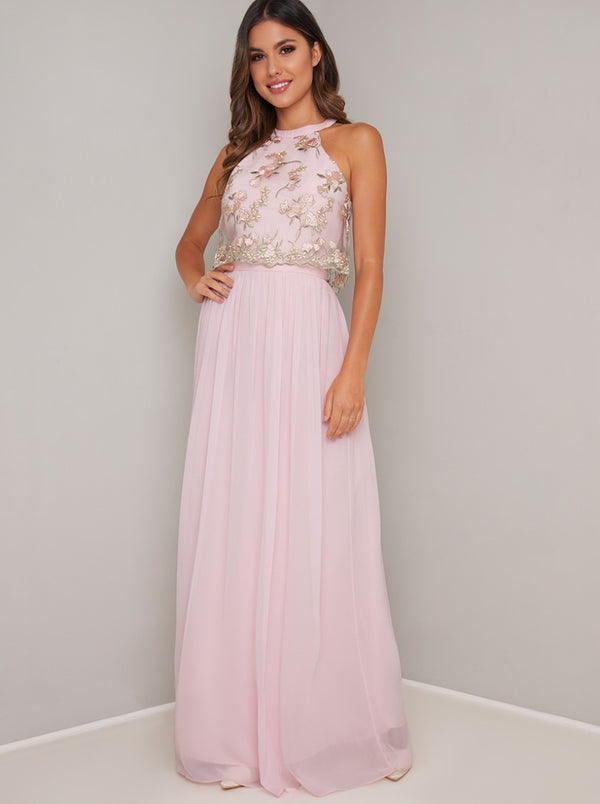 Lace Overlay Bodice Maxi Dress In Pink