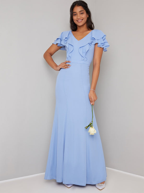 Ruffle Detail Chiffon Bridesmaid Maxi Dress in Blue