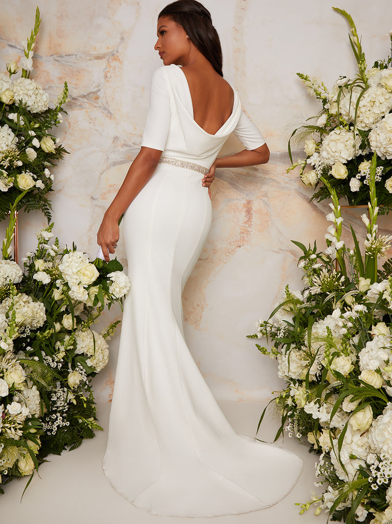 Bridal Wedding Dress with Scoop Back Design in White