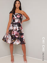 Petite Floral Print Strapless Midi Dress in Black