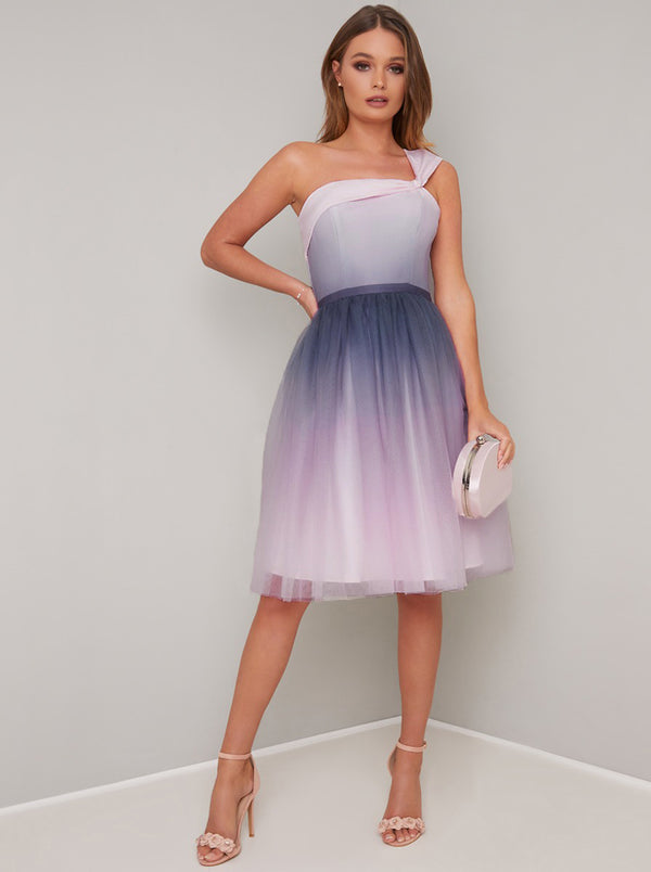 Ombre A-Symmetric Tulle Skirt Midi Dress in Pink