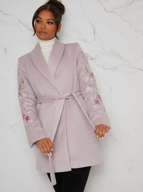 Wrap Style Short Coat Jacket in Purple