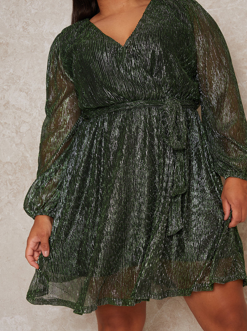 Plus Size Wrap Design Plisse Glitter Dress in Green