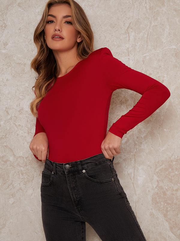 Long Sleeved Bodysuit In Red