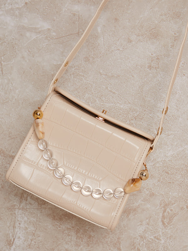 Box Shoulder Detail Handle Bag in Cream