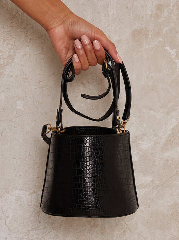 Bucket Bag Faux Leather Croc Design in Black