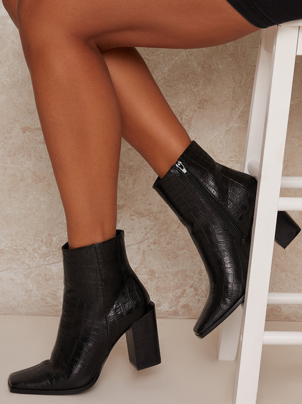 Croc Ankle Boots Square Toe in Black