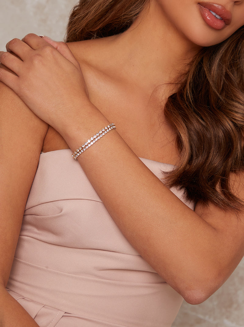 Two Pack Diamante Bracelets in Silver