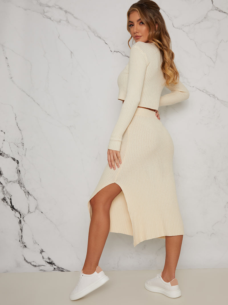 Polo Neck Knit Lounge Midi Skirt Set in Cream