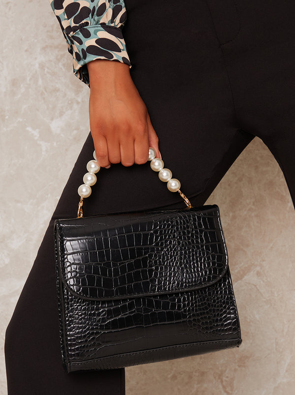 Faux Croc Pearl Handle Handbag in Black