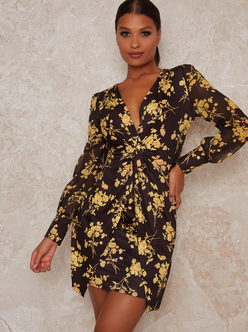 Lond Sleeve Knot Front Mini Dress in Floral Black