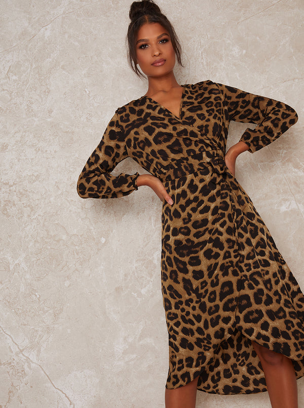 Wrap Design Long Sleeved Leopard Print Dress in Brown