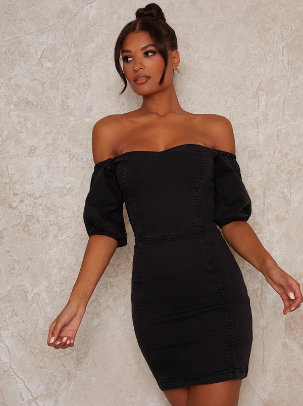 Denim Puff Sleeve Mini Dress in Black