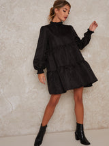 Tiered Smock Day Dress with Long Sleeves in Black