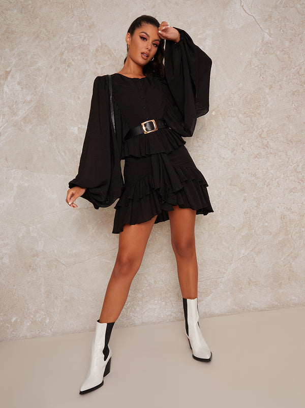 Balloon Sleeve Ruffle Mini Dress in Black