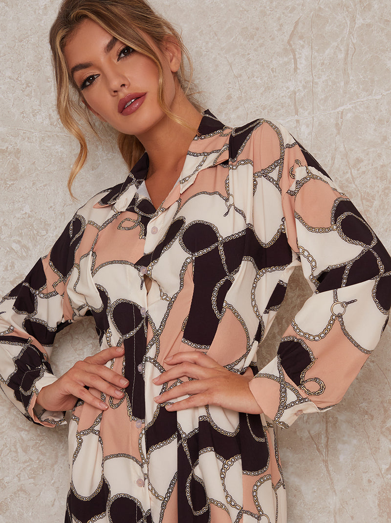 Abstract Print Shirt Dress In Multi