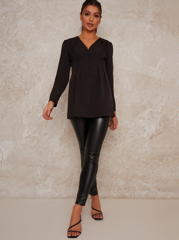 Satin Finish Long Sleeved Shirt Top In Black