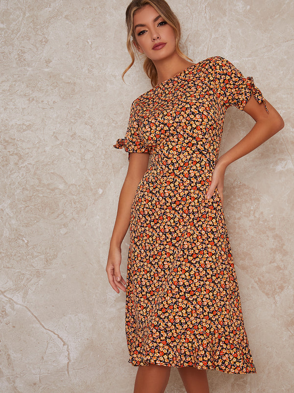 Printed Short Sleeve Midi Day Dress in Multi