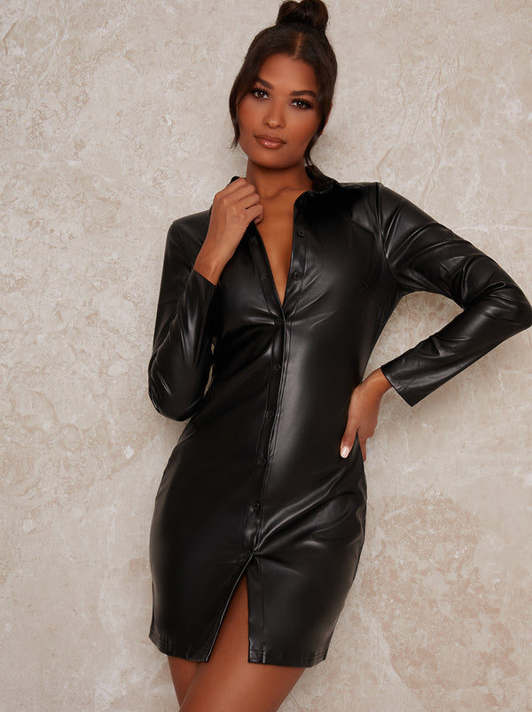 Leather Look Long Sleeved Mini Dress in Black
