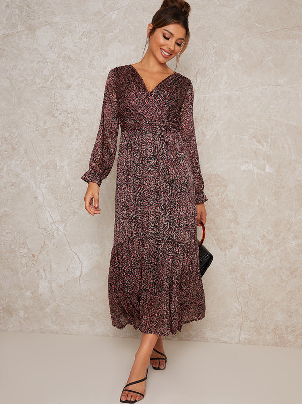 Long Sleeve Casual Midi Print Tiered Dress in Black