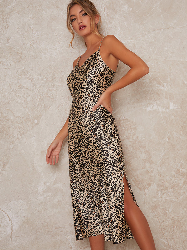 Cami Leopard Print Midi Dress in Black