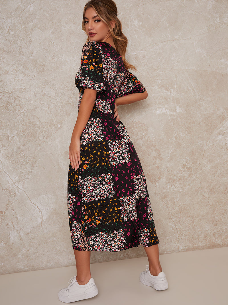 Angel Sleeve Midi Floral Print Midi Dress in Black