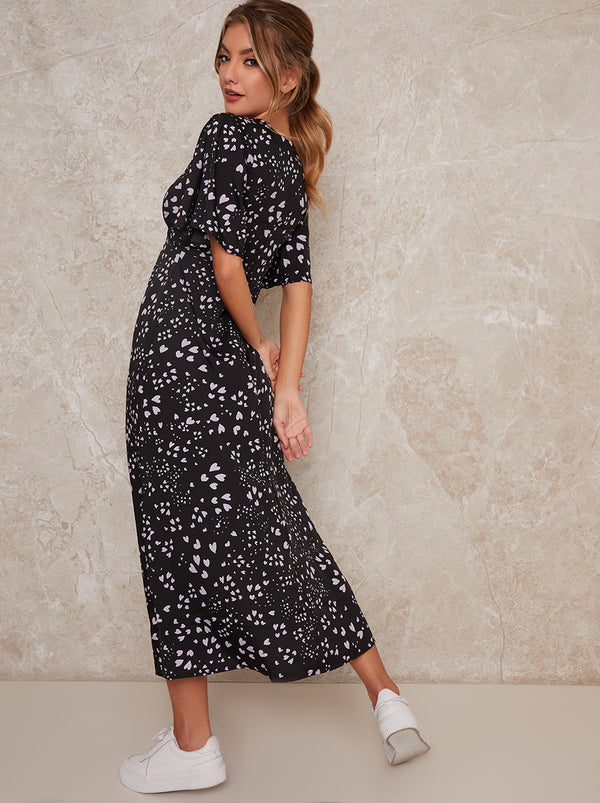 Printed Midi Day Dress with Split in Black