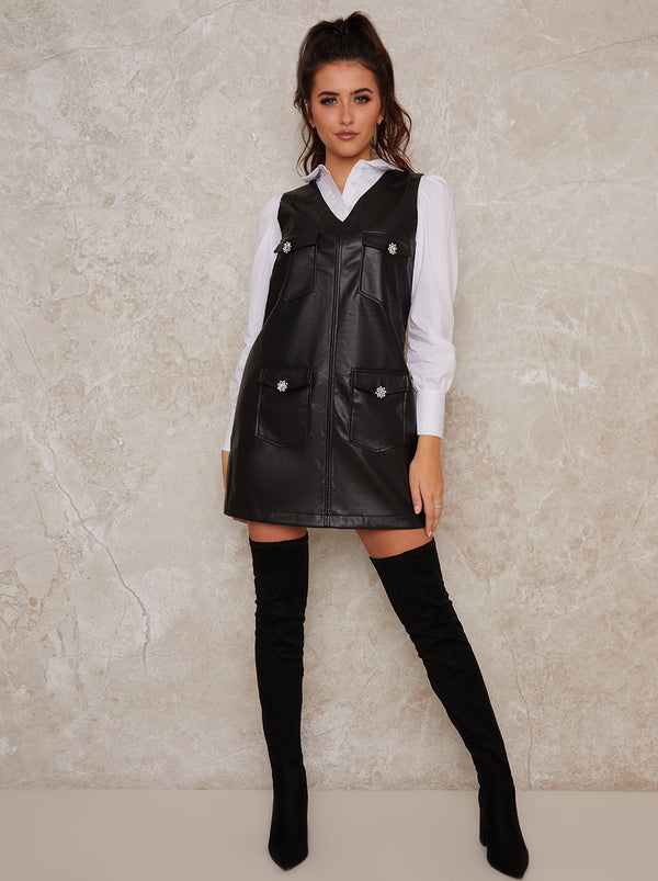 Leatherlook Pinafore Mini Dress In Black