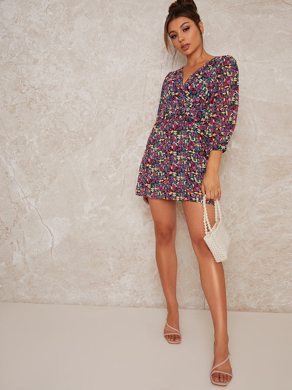 Floral Print Tie Waist 3/4 Sleeve Mini Dress in Multi