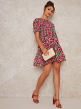 Floral Tiered Mini Dress in Multi