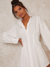 Fitted Waist Shirt Mini Dress in White