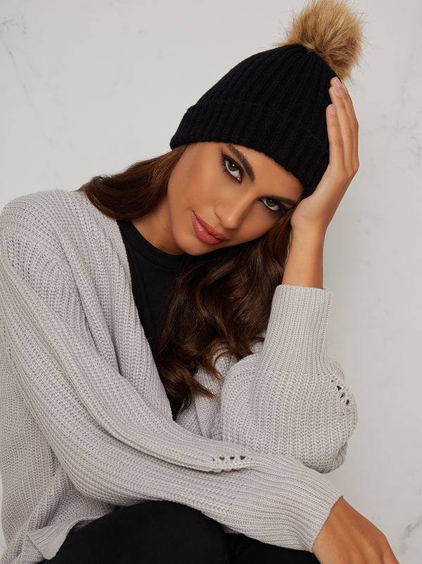 Faux Fur Knitted Rib Hat in Black