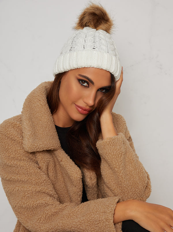Faux Fur Bobble Hat with Knitted Ribbed Design in Cream