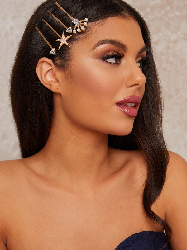 Star Hair Slides Pack Of 4 in Gold Tone