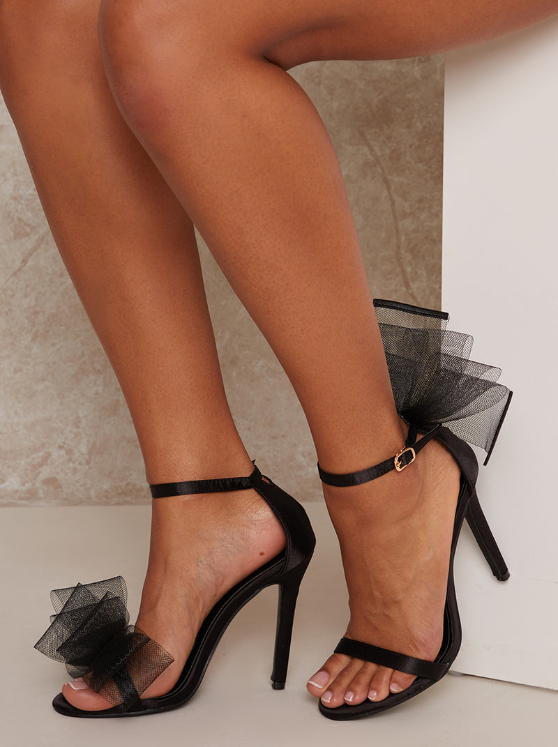 High Heel Bow Strappy Sandal in Black