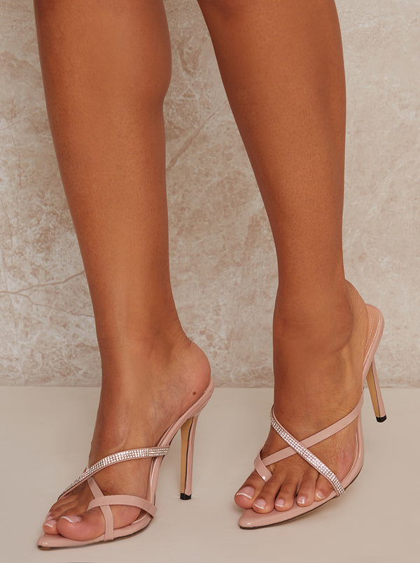 High Heel Mule Diamante Sandals in Nude